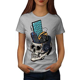 Schädel Gaming PC Geek Frauen graut-Hemd | Wellcoda