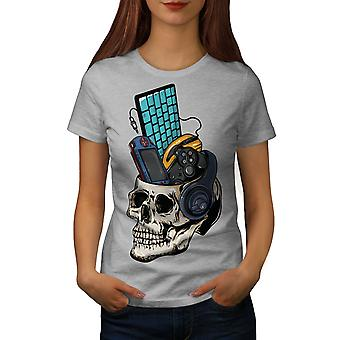 Skull Gaming PC Geek Women GreyT-shirt | Wellcoda