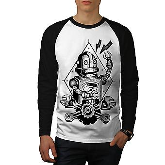 Robot Machine Gear Geek Men White (Black Sleeves)Baseball LS T-shirt | Wellcoda