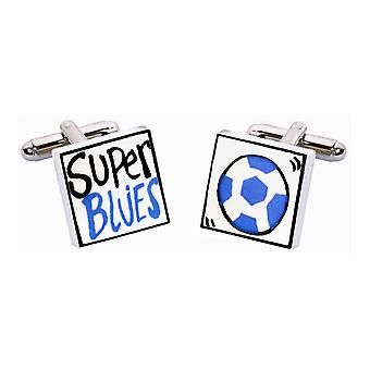 Super Blues Cufflinks by Sonia Spencer, in Presentation Gift Box. Hand painted