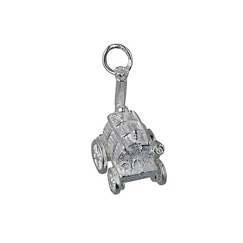 Silver 28x12mm moveable Traction Engine Charm