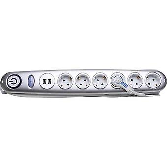 Surge protection socket strip 6x Silver PG connector Kopp