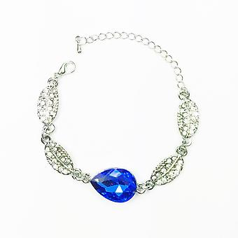 Woman Bracelet Silver Dark Blue Stone Teardrop Leaf