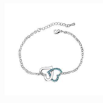 Womens Double cœur entrelacées Love Bracelet pierres de cristal bleu ciel