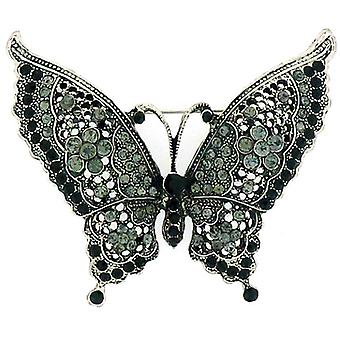 Brooches Store Large Antique Silver & Black Diamond Crystal Butterfly Brooch