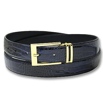 Biagio Croc Embossed Men's Bonded Leather Belt Gold-Tone Buckle