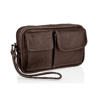 Woodland Leather Wrist Bag, Multi Patch Pocket, Central Zip Pocket