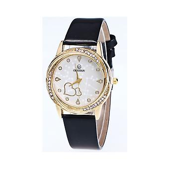 Classy Yellow Gold Heart Black Watch Love Clear Time Elegant