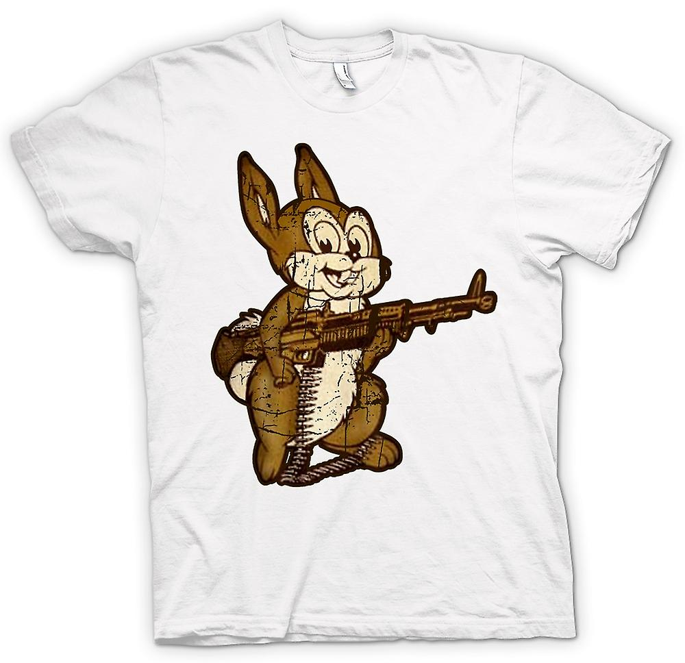Womens T-shirt - Rabbit With M60 Machine Gun - Cool Design