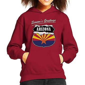 Seasons Greetings Arizona State Flag Christmas Kid's Hooded Sweatshirt