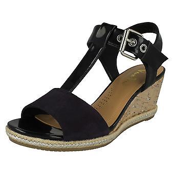 Ladies Van Dal Wedged Heel Sandals Jordan - Midnight Suede/Prisd Patent Leather - UK Size 6.5D - EU Size 40 - US Size 8.5