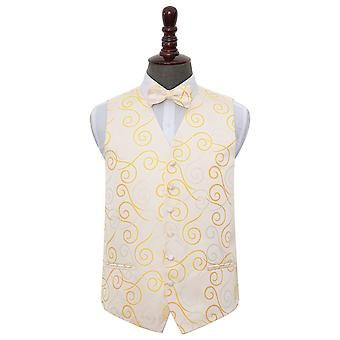 Gold Scroll Wedding Waistcoat & Bow Tie Set