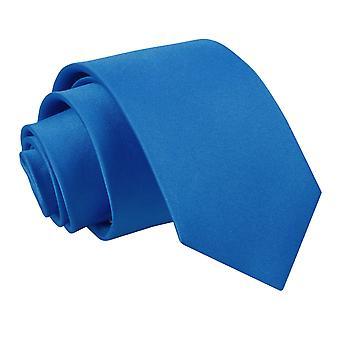 Plaine de bleu électrique Satin régulier cravate pour les garçons