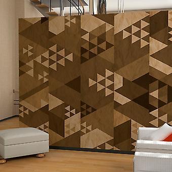 Behang - bruin lappendeken