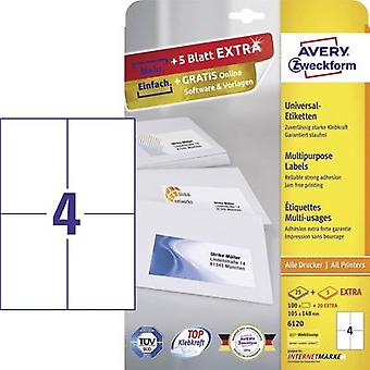 Avery-Zweckform 6120 Labels 105 x 148 mm Paper White 120 pc(s) Permanent All-purpose labels Inkjet, Laser, Copier 30 she