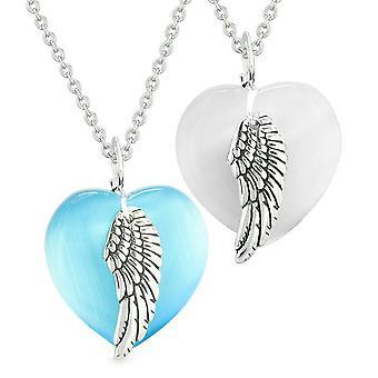 Amuletter engel fløj hjerter kærlighed par eller bedste venner hvide himmel blå simulerede Cats Eye halskæder