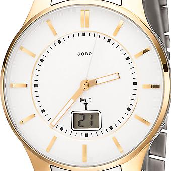 JOBO men's wristwatch radio radio clock stainless steel bicolor gold date men's watch
