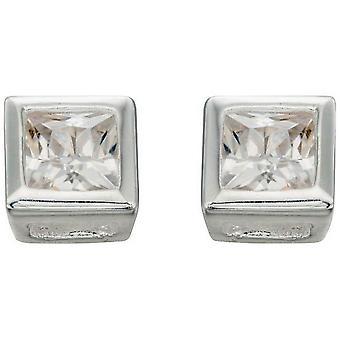 Beginnings Cubic Zirconia Square Stud Earrings - Silver/Clear