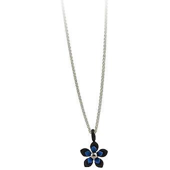 Ti2 Titanium Black Back Five Petal Flower Pendant - Navy Blue