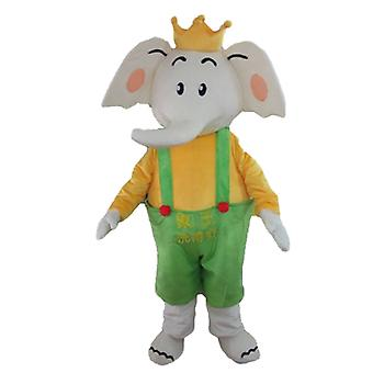 mascot SPOTSOUND of elephant in yellow and green, dress with a Crown