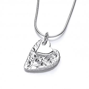 Cavendish French Crumpled Silver Heart Pendant without Chain
