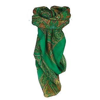 Pañuelo cuadrado de seda tradicional de Mora Shimla verde por Pashmina y seda