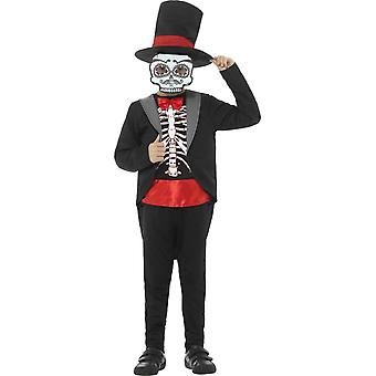 Day of the Dead Boy Costume, Black, with Jacket, Mock Top, Trousers, Hat & Mask