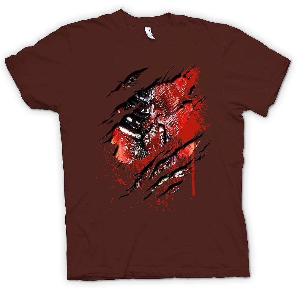 Heren T-shirt-Zombie Walking Dead ribben en hart gescheurd Design