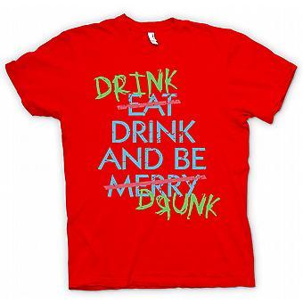 Mens T skjorte drikke stasjon og drikkes - spise drikke og være munter - Funny