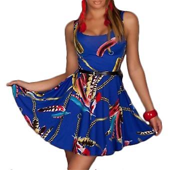 Waooh - gedruckt Kleid Schlittschuhläufer Federn Messina