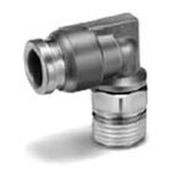 SMC Pneumatic Elbow Threaded-To-Tube Adapter, R 1/8 Male, Push In 8 Mm