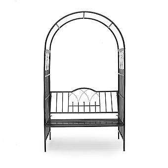 Arche arcade arceau à rosiers plante grimpante jardin avec banc noir 203 cm 2213011