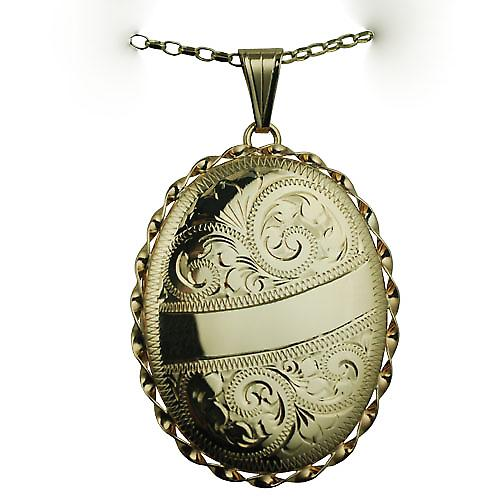 9ct Gold 37x28mm oval hand engraved twisted wire edge Locket with a belcher chain