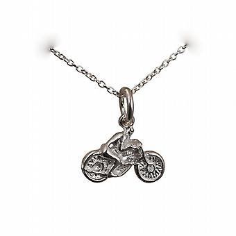 Silver 12x16mm Motorbike and Rider Pendant with a rolo Chain 14 inches Only Suitable for Children