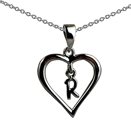 Silver 18x18mm initial R in a heart with rolo chain