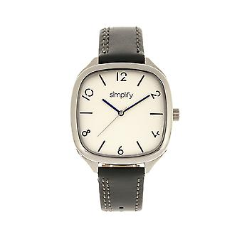 Simplify The 3500 Leather-Band Watch - Silver/Charcoal