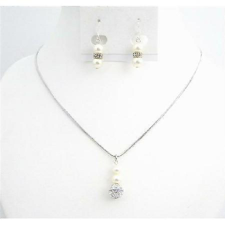Affordable Ivory Jewelry with CZ Ball Dangling Earrings Necklace Set