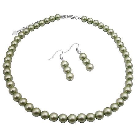 Cool Summer Color Green Necklace 16 Inches Synthetic Pearls Jewelry
