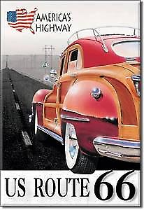 Route 66 Woody steel fridge magnet
