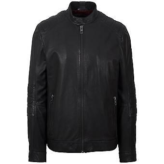 Босс Jagson5 Черная кожаная куртка байкер