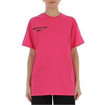 Semi-couture Paola Fuchsia Cotton T-shirt