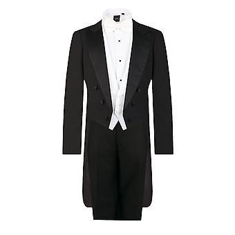 Dobell Mens Black Evening White Tie 2 Piece Suit Regular Fit
