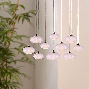 Brillcool Luna nikkel 10-Light hanger rechthoekige luifel