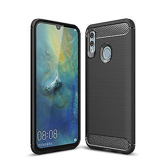 Huawei P smart 2019 TPU case carbone fibre optique brossé étui de protection noir