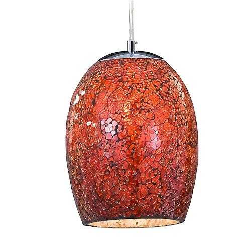 Searchlight 8069RE Crackle Chrome Pendant With Orange Black Mosaic Glass