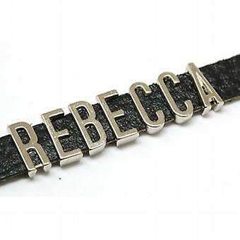 The Olivia Collection 'Rebecca' Leather Personalised Name Bracelet