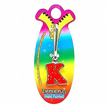 OOTB Initial K Red Hand Painted Base Metal 4.5 cm Glitter Zipper Puller