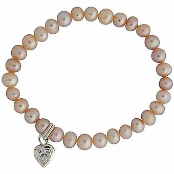 Jo For Girls Pink Freshwater Cultured Pearl (4-5mm) Heart Charm Bracelet