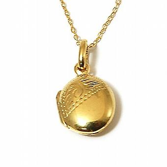 TOC Sterling Silver Goldtone Small Oval Engraved Locket Necklace 16