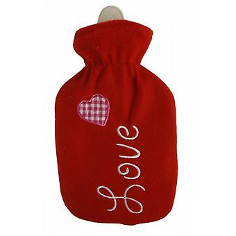 Red Fleece Embroidered Love Mini 500ml Hot Water Bottle
